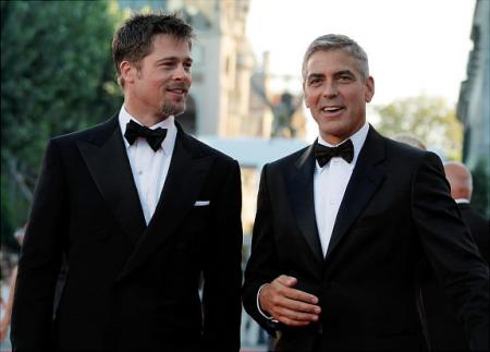 Brad Pitt and George Clooney in black and white at Venice