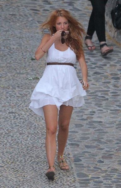 Blake Lively in a white sundress