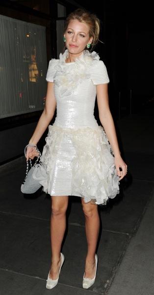 Blake Lively in a ruffled dress