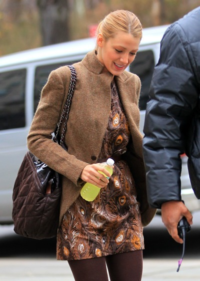 Blake Lively's feathered fashion
