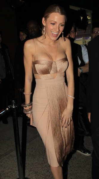 Blake Lively in a nude dress