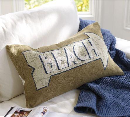 Beach Sign Lumbar Pillow Cover