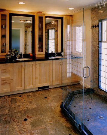 Wood, glass and granite bathroom