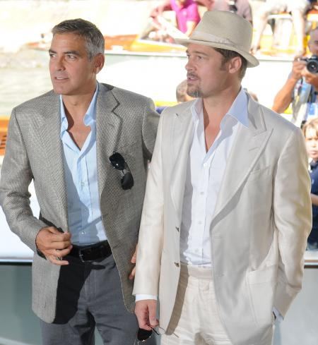 Brad Pitt and George Clooney at a film festival