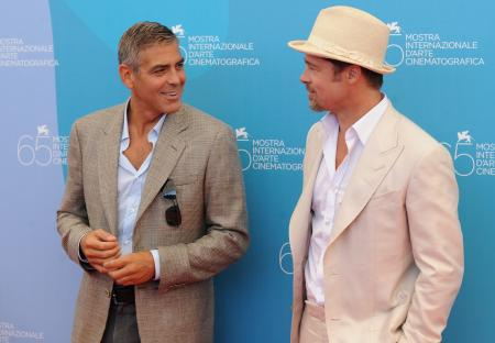 Brad Pitt and George Clooney pictured in Venice