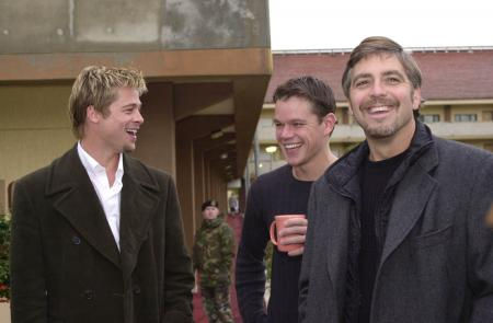 Brad Pitt, Matt Damon and George Clooney all smiling while in Turkey