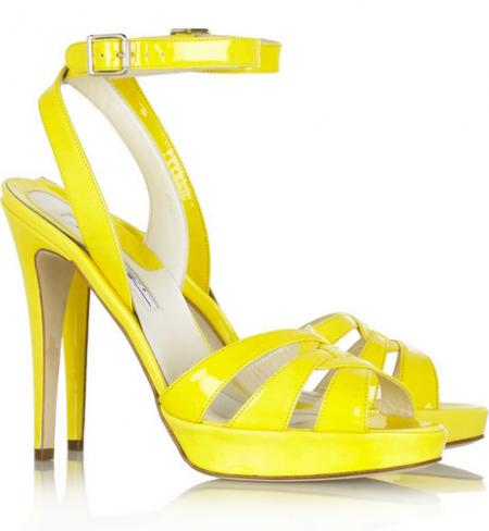 Brian Atwood Yellow Patent Sandals