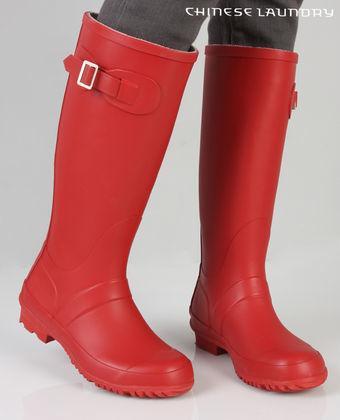 """Bright Red Rubber """"Hunter"""" Rain Boot"""