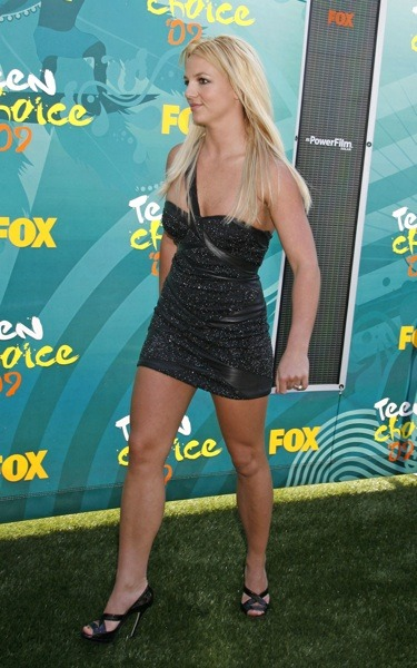 Britney Spears in beaded black dress