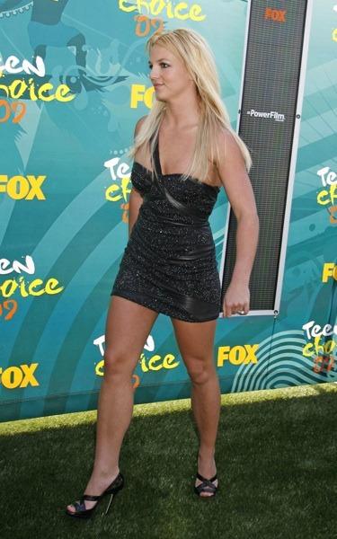 Britney Spears in beaded black dress