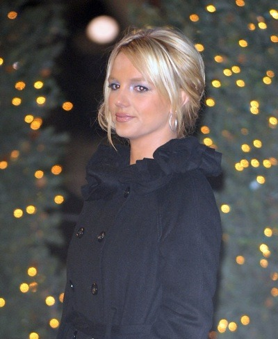 Britney Spears in black coat