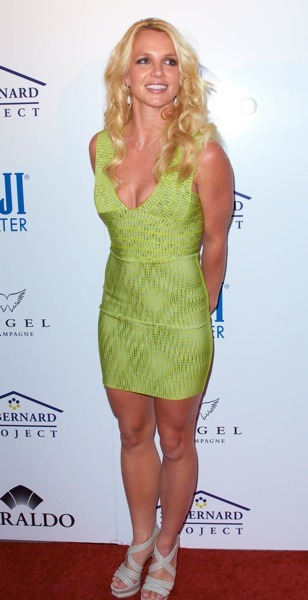 Britney Spears in lime green dress