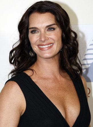Brooke Shields in black