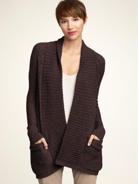 Ribbed Shawl-Collar Sweater