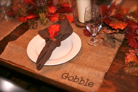 Burlap Thanksgiving placemat