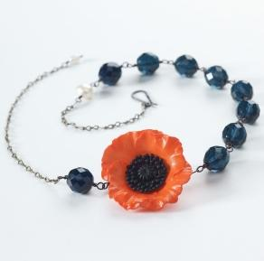 Burnt Orange Poppy & Dark Sapphire Bead Necklace
