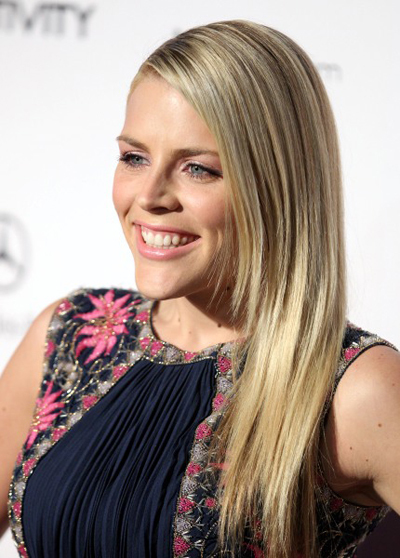 Busy Philipps' sleek, blonde hairstyle