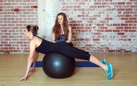 Bam Bams w/ an Exercise Ball: Step 1