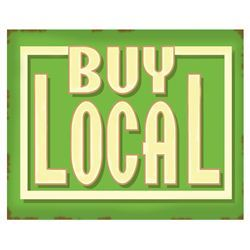 "Handpainted ""buy local"" sign"