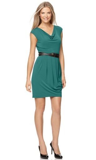 Belted sleeveless cowl neck dress