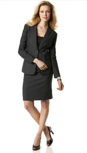 Pinstriped single button jacket and pencil skirt