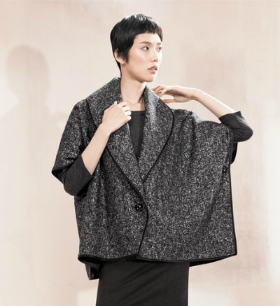 Leather-Trim Wool Capelet