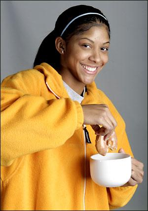 Candace Parker Dunking a Donut