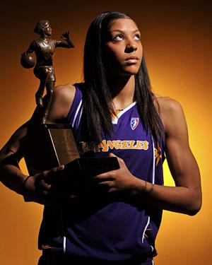 Candace Parker with the MVP Trophy