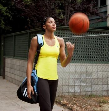 Candace Parker Walking with a Basketball