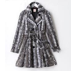Candies Double-breasted Python Trench Coat