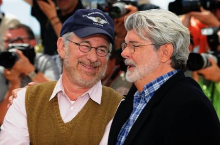 A light-hearted moment between Spielberg and Lucas at the film festival.