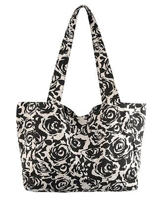 Canvas Rose Shoulder Bag