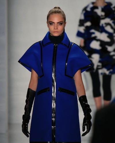 Blue cap sleeve coat