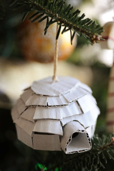 DIY cardboard igloo ornament