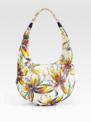 Carlos Falchi Python Floral Hobo