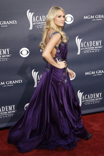 Carrie Underwood in purple gown
