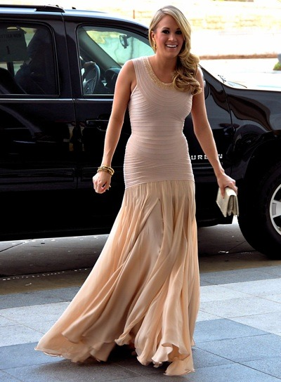 Carrie Underwood in beige