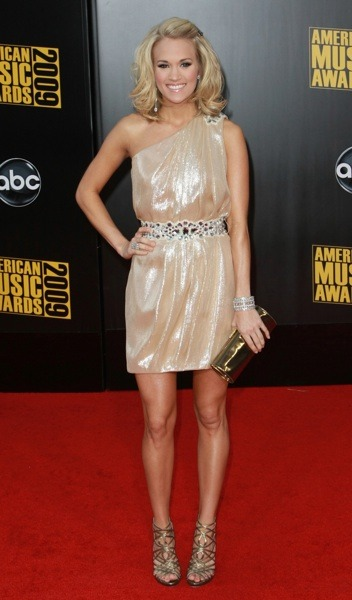 Carrie Underwood in champagne dress