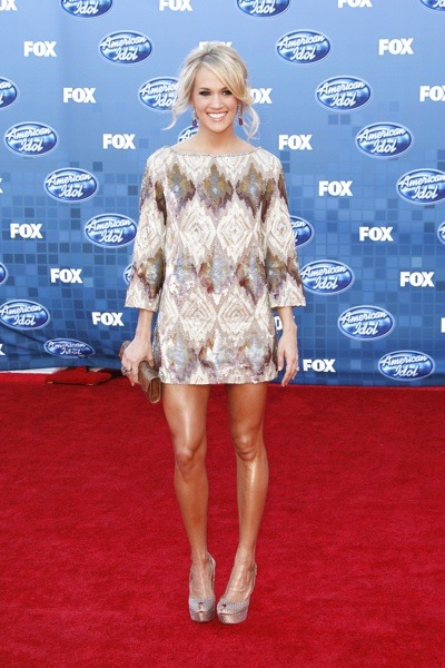 Carrie Underwood with crystal studded neckline