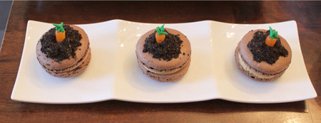 Carrot in dirt macarons