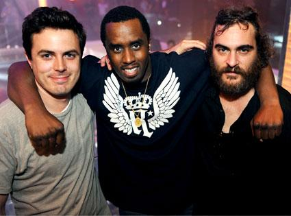 P. Diddy between Casey Affleck and Joaquin Phoenix in Miami Beach