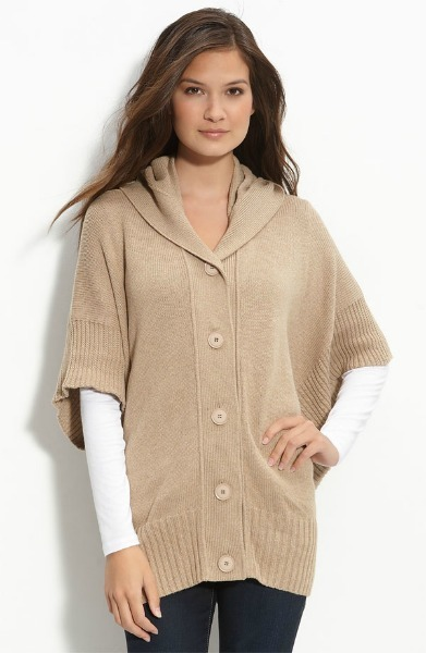 Hooded Button-Front Poncho