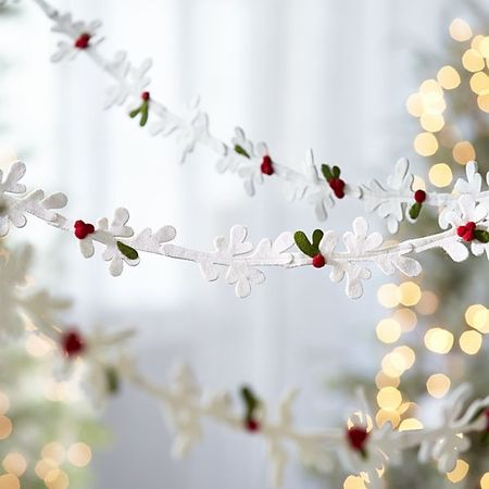 Winter white felt mistletoe garland