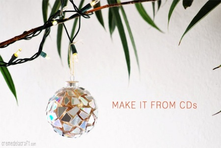 DIY CD mosaic ornament
