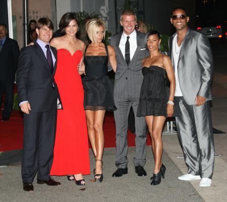 Tom Cruise and Katie Holmes, Victoria and David Beckham, and Jada Pinkett Smith and Will Smith in Los Angeles