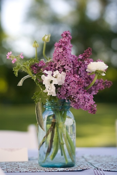 Soft lilacs in jars