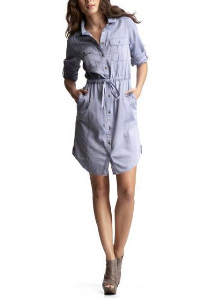 Chambray drawstring shirt dress