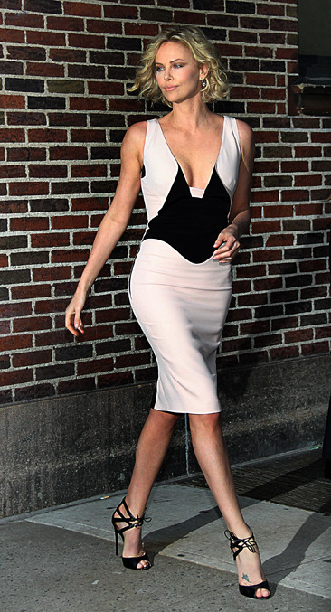 Charlize Theron outside the Ed Sullivan Theater