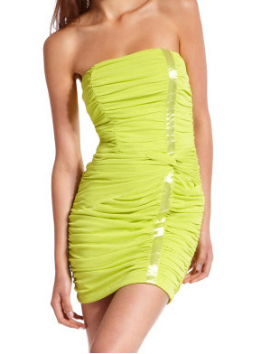 Satin accent ruched dress