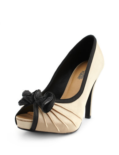 Satin Pleated Ruffled Peep-Toe Heel